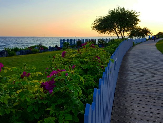 The Boardwalk at sunset, Mackinac Island, Michigan