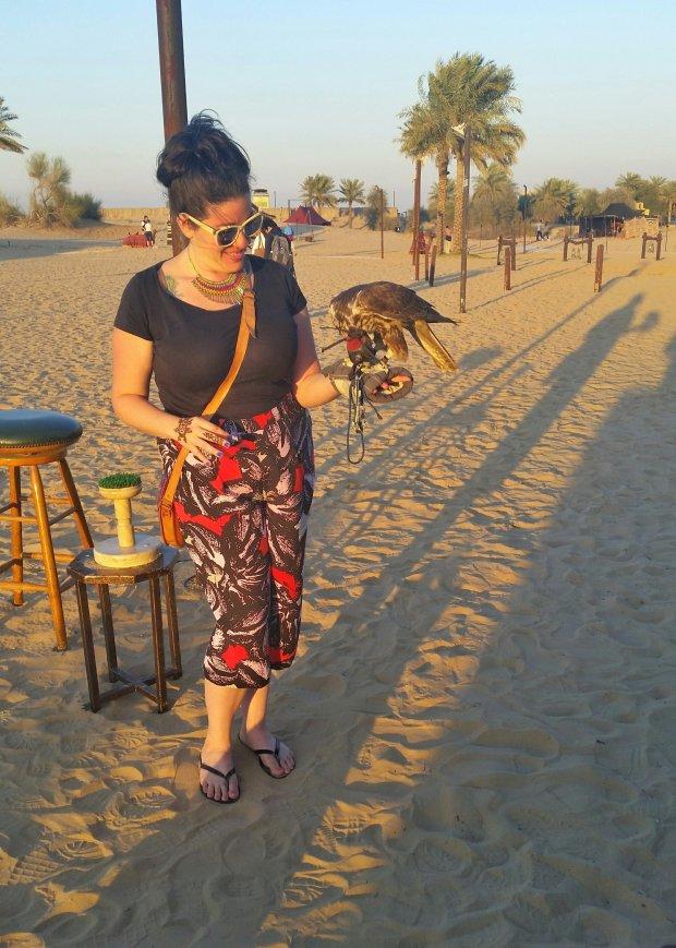 Al Sahra Desert Resort, Dubai - holding a falcon