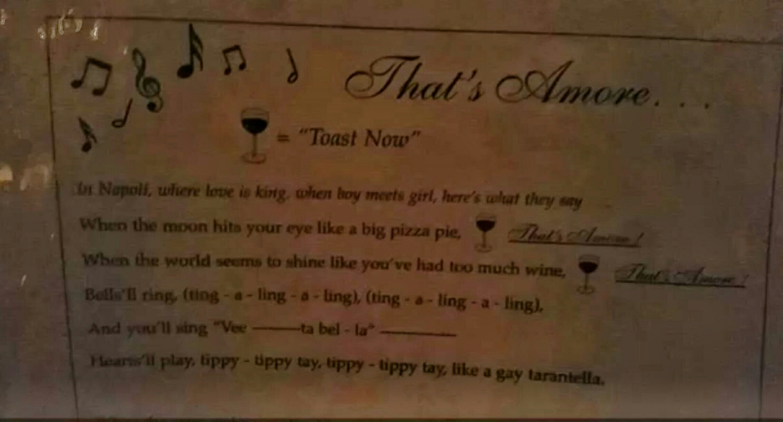 That's Amore Lyrics at C.O. Trattoria, Venice Beach
