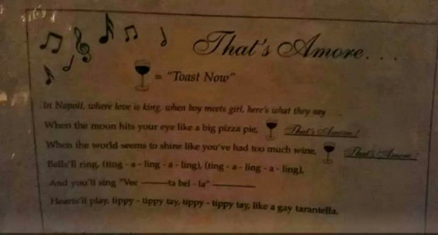 That's Amore Lyrics at C.O. Trattoria, Venice Beach