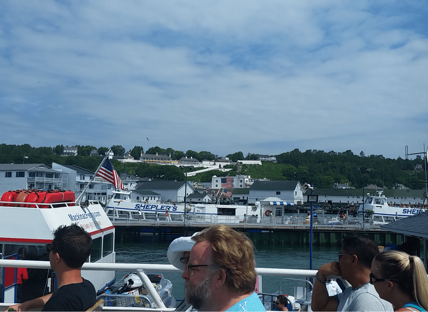 Looking at Fort Mackinac from the ferry