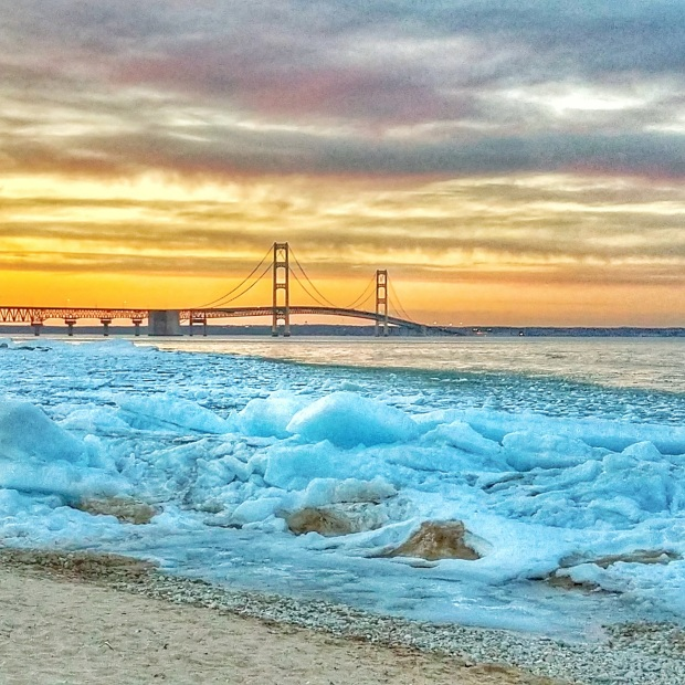 Spring Icebergs in Mackinaw City